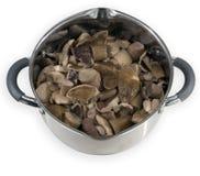 在平底锅的蘑菇 免版税库存照片