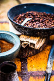 在平底锅的豆 免版税库存图片