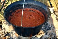 在平底锅的辣豆汤在营火 免版税库存图片