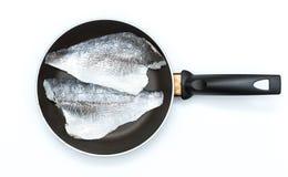 在平底锅的鱼 库存照片