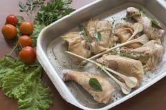在平底锅的鸡 免版税库存照片