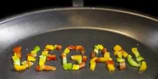 在平底锅的素食主义者词 免版税库存图片