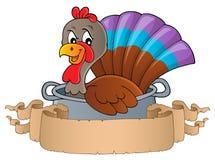 在平底锅题材横幅1的土耳其鸟 免版税库存图片