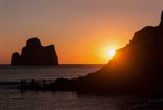 在平底锅del Zucchero的看法在日落的撒丁岛 图库摄影
