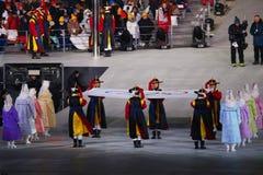 在平昌郡奥林匹克体育场的奥林匹克升旗仪式在2018个冬季奥运会开幕式期间 免版税库存照片