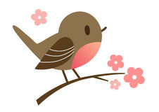 在平的传染媒介样式的逗人喜爱的动画片鸟 免版税图库摄影