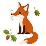 在平的传染媒介样式的逗人喜爱的坐的狐狸 库存图片