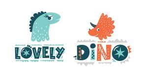 在平的动画片样式的恐龙逗人喜爱的传染媒介例证 迪诺和可爱的手拉的字法 库存例证