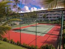 在平的手段的排球场在波尔图de加利尼亚斯岛,巴西 库存照片