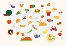 在平的样式传染媒介的食物象 库存图片