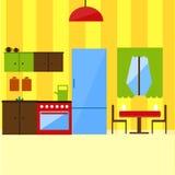 在平的样式例证的厨房内部 库存照片