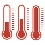 在平的样式和温度计象,医疗thermom的温度计 免版税库存图片