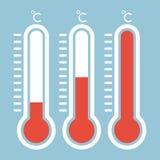 在平的样式和温度计象,医疗thermom的温度计 库存照片
