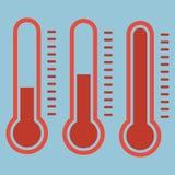 在平的样式和温度计象,医疗thermom的温度计 免版税图库摄影