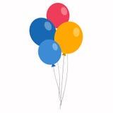 在平的样式的五颜六色的气球在白色 免版税图库摄影