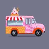 在平的样式的冰淇凌卡车 免版税库存图片