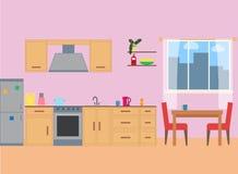 在平的样式的厨房内部 向量例证