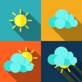 在平的样式的天气象 库存图片