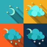 在平的样式的天气象 免版税图库摄影