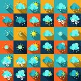 在平的样式的天气象 图库摄影
