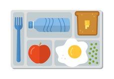 在平的样式的学校午餐 库存例证