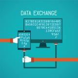 在平的样式的小配件和个人计算机数据交换的传染媒介概念 库存例证