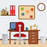 在平的样式的工作区 有工作场所的本级教室 也corel凹道例证向量 向量例证