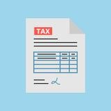 在平的样式的报税表象,隔绝与蓝色背景 库存照片