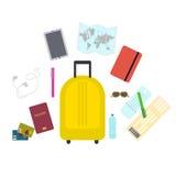 在平的样式的旅行集合象 免版税库存照片
