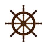 在平的样式的木船舵 对游艇俱乐部,风船 库存图片