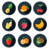 在平的样式的果子和莓果象 库存照片