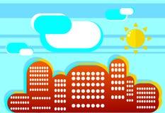 在平的样式的正面夏天都市风景 一个简单的例证o 免版税库存照片