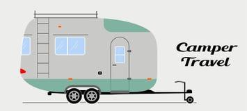 在平的样式的现代传染媒介露营搬运车 旅行休闲和冒险的范illustration 库存照片