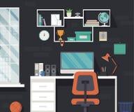 在平的样式的现代家庭工作区 免版税库存照片