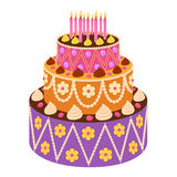 在平的样式的甜蛋糕 免版税库存照片