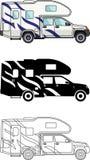 在平的样式的白色背景隔绝的不同的亲切的汽车和旅行拖车:色的,黑剪影和等高 向量例证