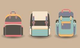 在平的样式的背包 免版税库存照片