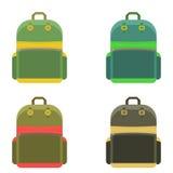 在平的样式的背包 免版税库存图片
