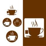 在平的样式的茶杯象 库存图片