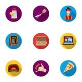 在平的样式的薄饼和比萨店集合象 薄饼的大收藏和比萨店导航标志 免版税库存图片