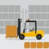 在平的样式的装载者卡车 免版税库存照片