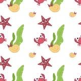 在平的样式的逗人喜爱的动物-螃蟹,海星,壳 图库摄影