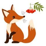 在平的样式的逗人喜爱的动画片狐狸 图库摄影