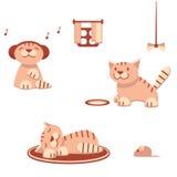 在平的样式的滑稽的猫 免版税图库摄影