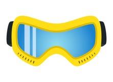 在平的样式的黄色滑雪玻璃 现代时髦极端存取机构 图库摄影