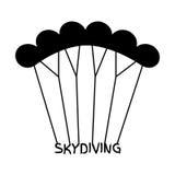在平的样式的Skydiving商标 黑极端体育跳伞的em 免版税库存图片