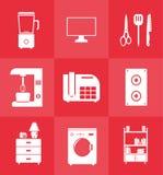 在平的样式设置的家庭设备象 库存照片
