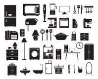 在平的样式设置的家庭设备象 图库摄影