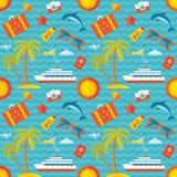 在平的样式设计的暑假传染媒介背景无缝的样式 库存例证