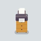 在平的窗框的办公用打印机 免版税图库摄影